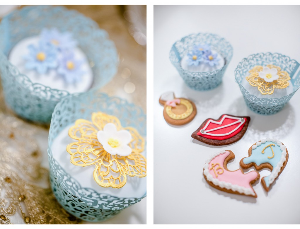 selfmade cupcakes and cookies - the bride has so many talents