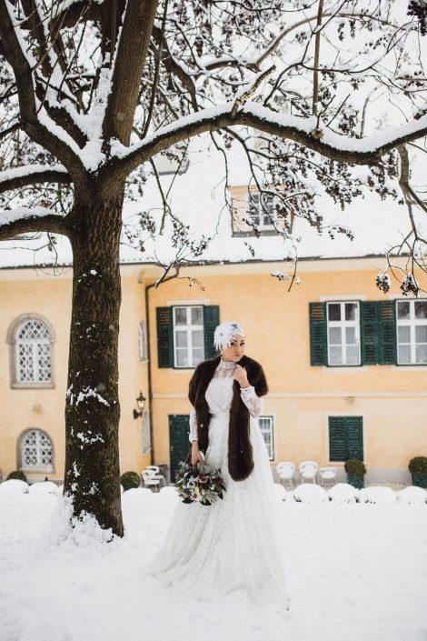 Winter Hochzeit Outfit Braut Brautkleid